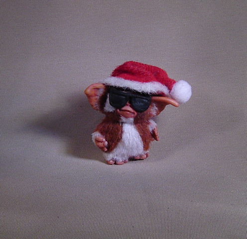 ooak gizmo mogwai with glasses santa hat christmas