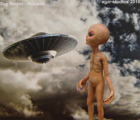 Alien ufo xfiles ovni plastillo volador fantasy art