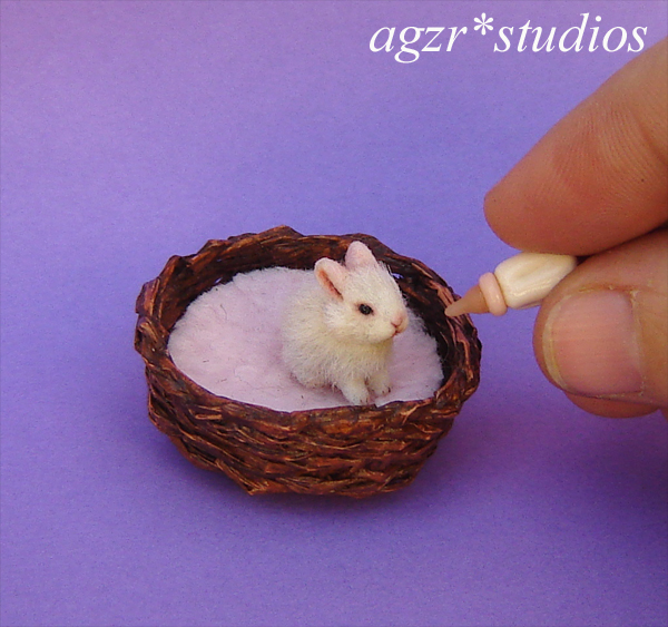 1:12 miniature furred baby bunny rabbit realistic dollhouse