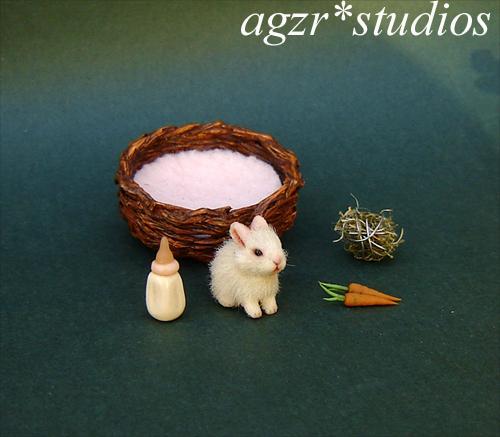 1:12 miniature furred baby bunny rabbit realistic dollhouse agzr studios