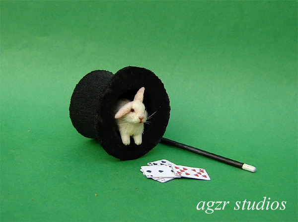 1:12 miniature white bunny rabbit inside top hat magician ooak furred handmade realistic