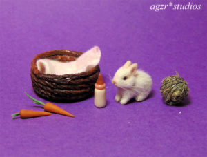 1:12 miniature white baby bunny rabbit for dollhouse roombox diorama ooak