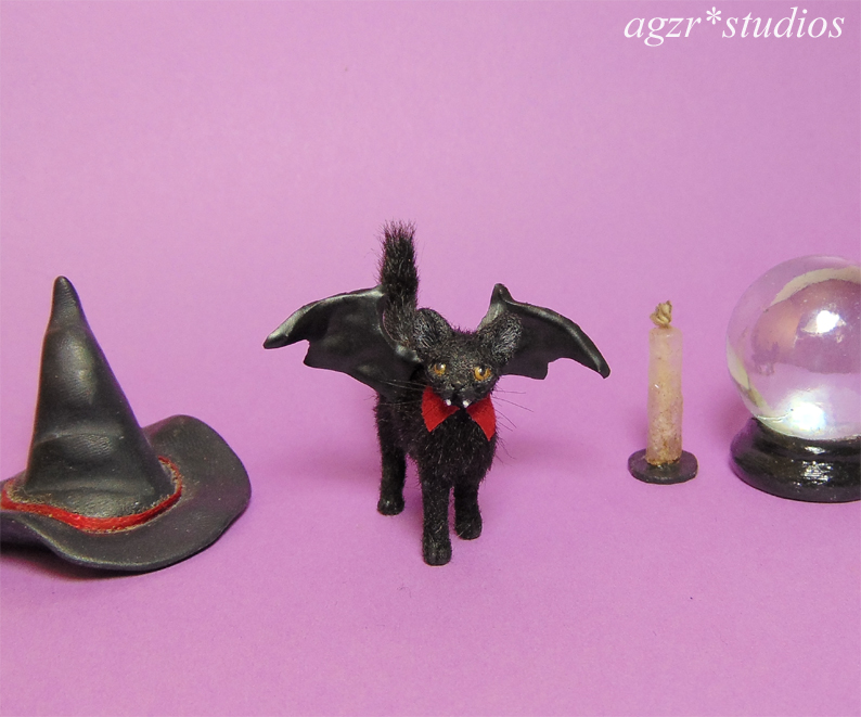 1:12 miniature black kitten cat bat wings vamp teeth handmade  furred