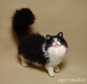 Ooak 1:12 standing long haired cat for dollhouse realistic