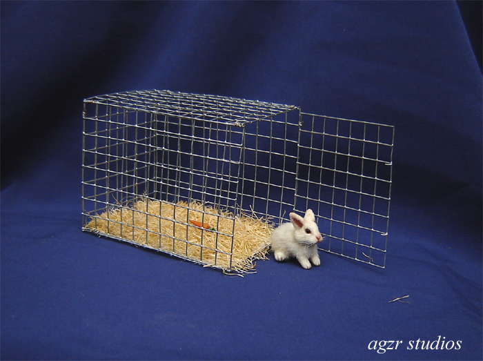 1:12 furred miniature white baby bunny cage
