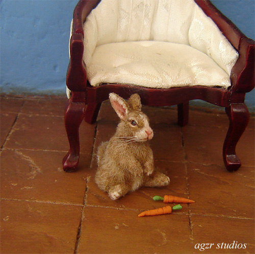 1:12 dollhouse furred miniature sitting bunny rabbit