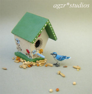 1:12 miniature blue jay bird handmade realistic ooak dollhouse furred feathered diorama roombox
