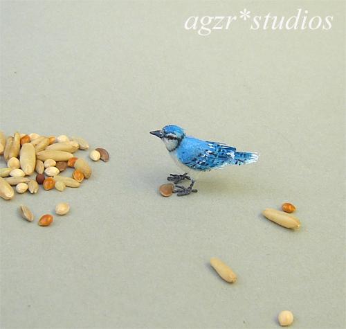 1:12 miniature blue jay bird handmade realistic ooak dollhouse roombox diorama