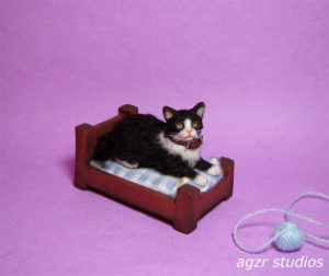 Ooak 1:12 tuxedo cat kitten & bed furred handmade realistic