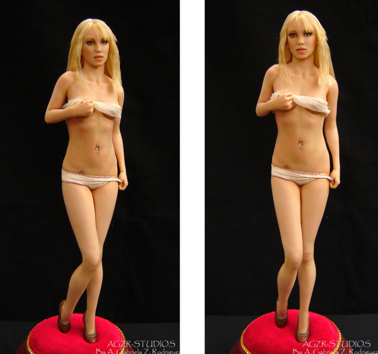 agzr studios art doll inspired by Britney Spears singer sculpture