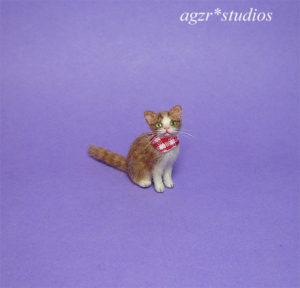Ooak 1:12 dollhouse sitting kitten handmade furred realistic