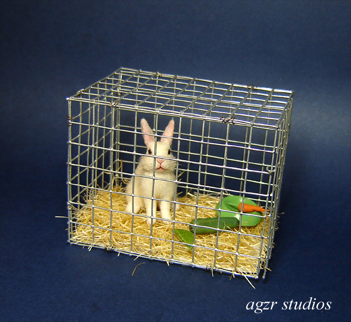 ooak 1:12 miniature white rabbit bunny & cage handmade for dollhouse diorama roombox
