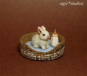 ooak 1:12 miniature baby white rabbit bunny handmade furred bed