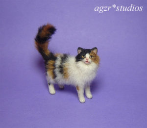 1:12 miniature long haired calico cat kitten kitty for dollhouse diorama roombox handmade ooak