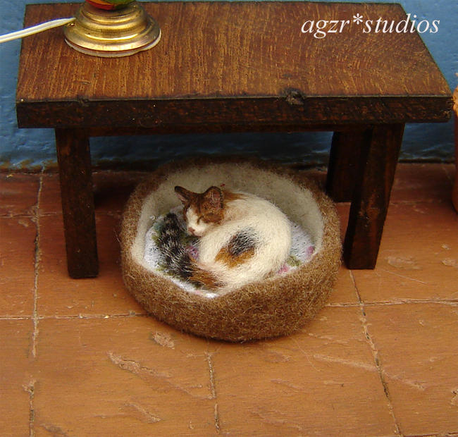 1:12 miniature realistic calico cat for dollhouse handmade agzr studios