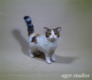 Ooak 1:12 standing calico cat furred handmade agzr studios