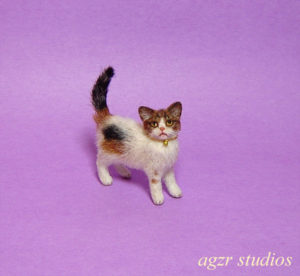 1:12 miniature calico kitten cat handmade realistic for dollhouse