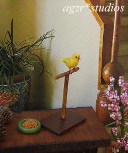 1:12 miniature canary yellow bird handmade realistic & perch