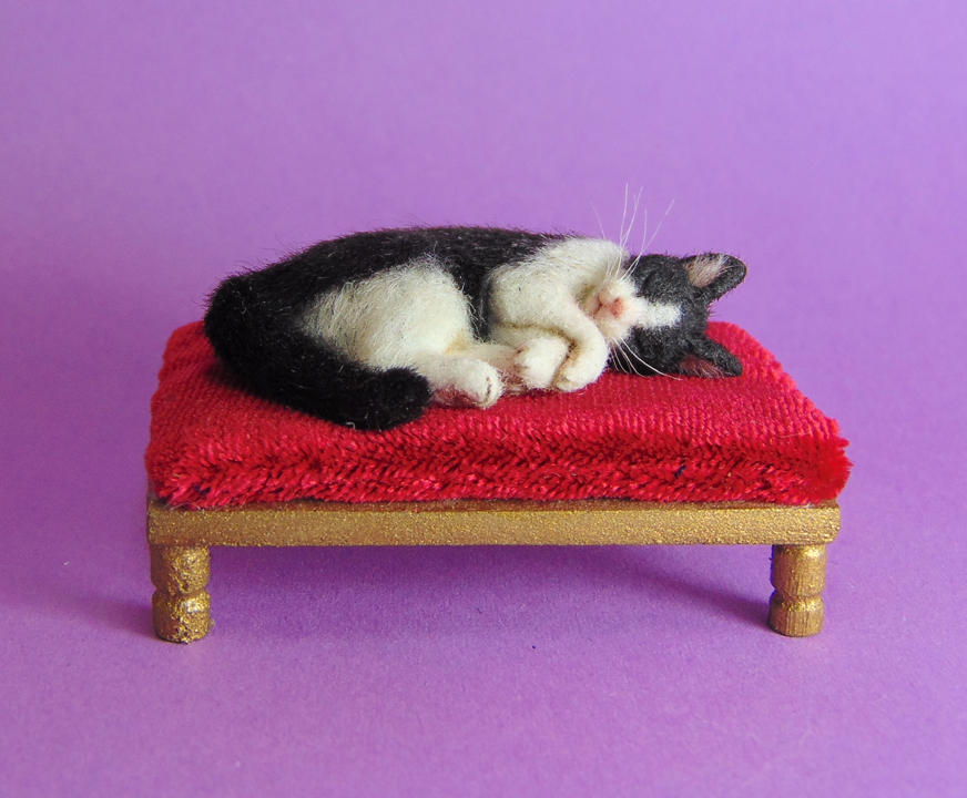 Ooak 1:12 sleeping tuxedo cat & bed furred handmade realistic by agzr studios