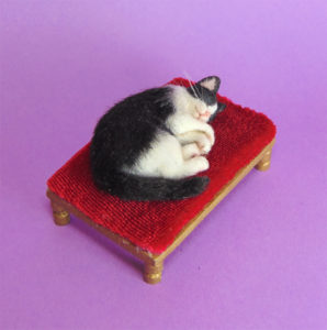 Ooak 1:12 sleeping tuxedo cat kitten & bed handcrafted