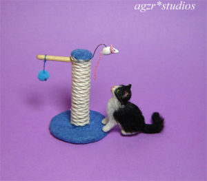 1:12 handmade miniature 1:12 dollhouse cat kitten toy