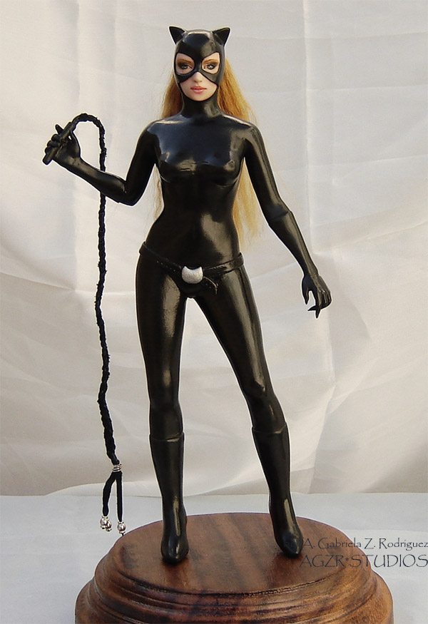 Ooak Catwoman Doll Sculpture in polymer clay agzr studios a gabriela z rodriguez