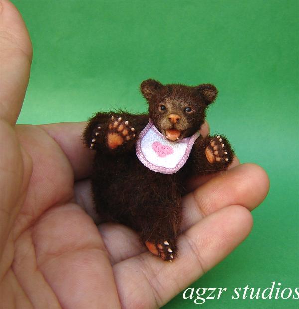 1:12 scale grizzly bear cub handmade animal pet baby dollhouse