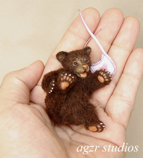 1:12 scale grizzly bear cub handmade animal pet baby animal