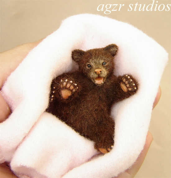 1:12 scale grizzly bear cub handmade animal realistic baby
