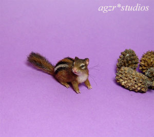 Handmade 1:12 scale miniature Chipmunk furred fur lifelike animal pet