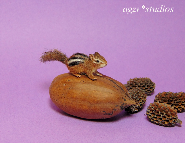 Handmade 1:12 scale miniature Chipmunk furred lifelike realistic