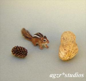 Handmade 1:12 scale miniature Chipmunk ooak realistic animal pet squirrel