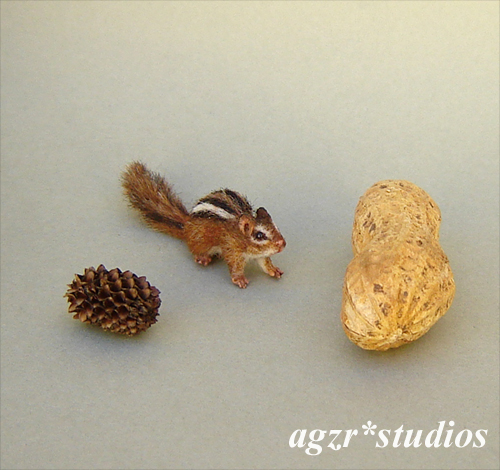 Handmade 1:12 scale miniature Chipmunk ooak realistic animal pet squirrel