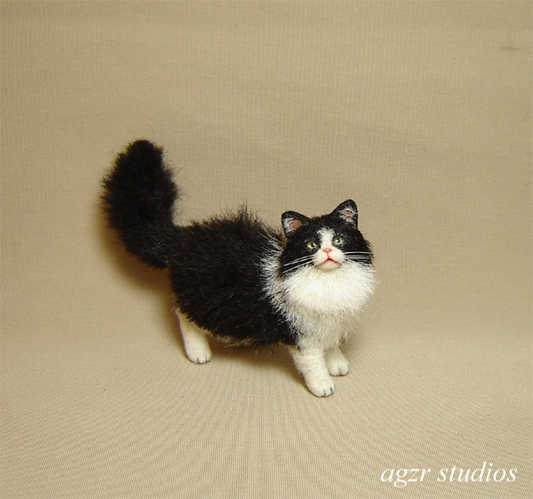 Ooak 1:12 dollhouse longhaired cat handmade furred realistic