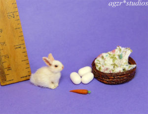 1:12 dollhouse furred miniature white bunny rabbit