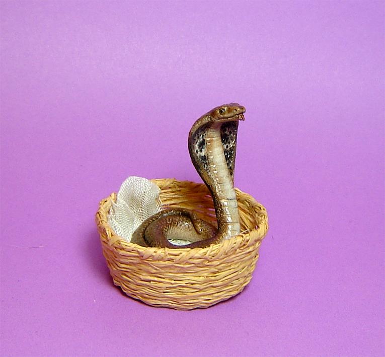 Ooak 1:12 cobra snake handmade with basket realistic