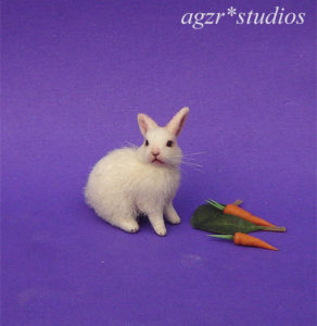 ooak 1:12 miniature white rabbit bunny furred realistic