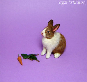 ooak 1:12 miniature dutch rabbit bunny handmade realistic furred