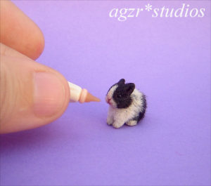1:12 dollhouse furred miniature baby dutch bunny rabbit black & white
