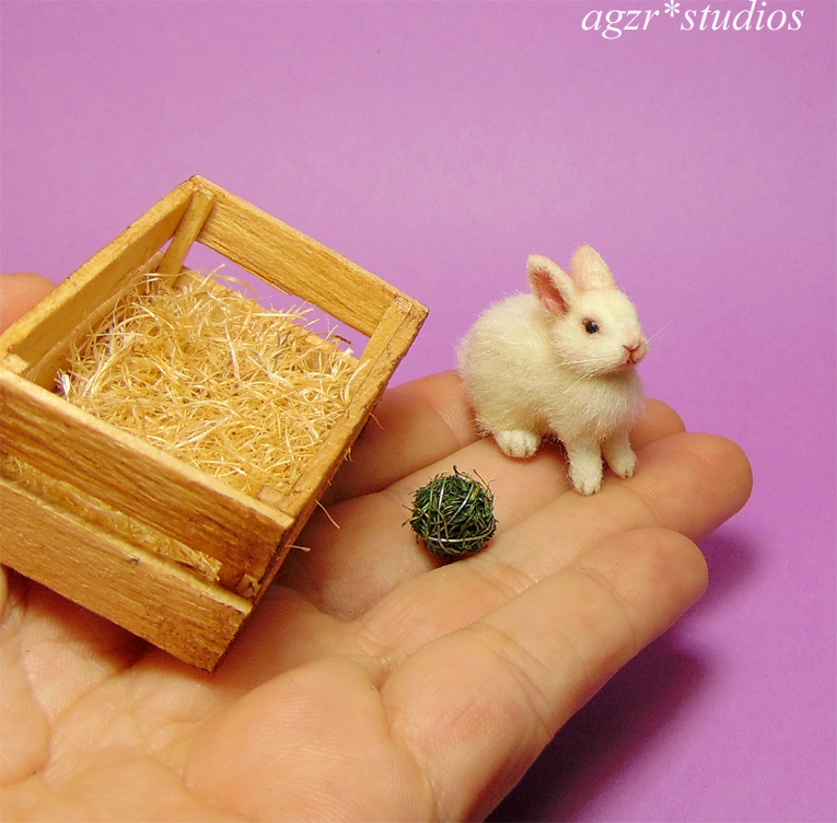 ooak 1:12 miniature white rabbit bunny wooden crate ooak realistic