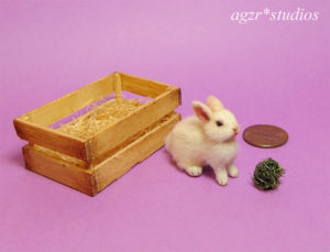 ooak 1:12 miniature white rabbit bunny