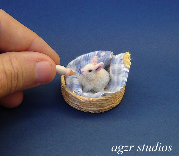 1:12 furred miniature white baby bunny rabbit