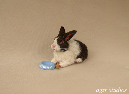 1:12 dollhouse furred miniature dutch rabbit