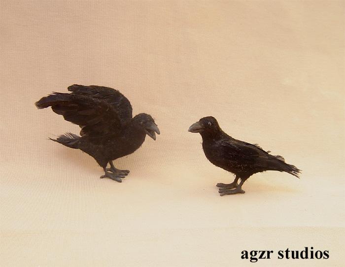 1:12 miniature crow raven birds handmade ooak realistic dollhouse