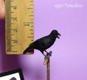 1:12 miniature crow raven bird feathered realistic dollhouse handmade