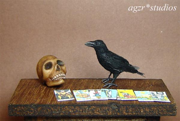 1:12 miniature crow raven bird handmade ooak realistic dollhouse diorama roombox