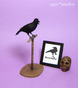 1:12 miniature crow raven bird feathered realistic lifelike dollhouse
