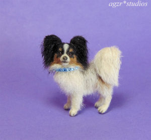 Ooak 1:12 dollhouse miniature papillon dog life like pet furred realistic