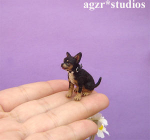 Ooak 1:12 dollhouse miniature chihuahua dog life like pet dollhouse