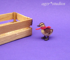 Ooak 1:12 dollhouse miniature mallard duckling handmade furred